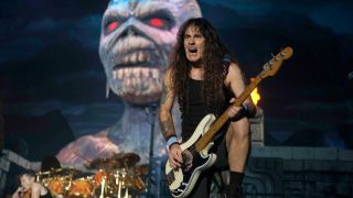A picture of Iron Maiden live in concert