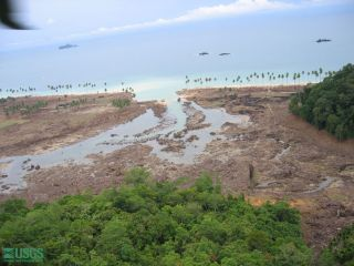 Beach damage after the 2004 Sumatra tsunami