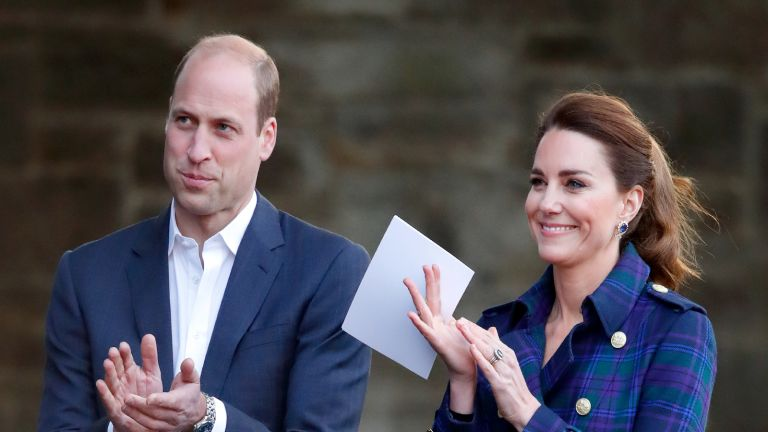 Prince William, Duke of Cambridge and Catherine, Duchess of Cambridge (holding her notes before making a speech) host a drive-in cinema screening of Disney's 'Cruella' for Scottish NHS workers at The Palace of Holyroodhouse on May 26, 2021