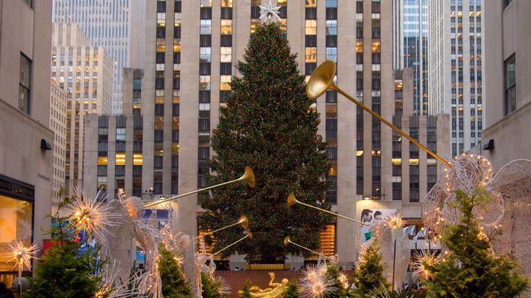 Rockefeller Christmas tree during Christmas in New York