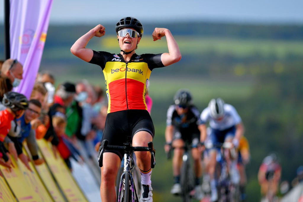 DRTENDORF GERMANY MAY 28 Lotte Kopecky of Belgium and Team Belgium stage winner celebrates at arrival during the 34th Internationale LOTTO Thringen Ladies Tour 202 Stage 4 a 101km stage from Drtendorf to Drtendorf 420m ltlt2021 lottothueringenladiestour womencycling on May 28 2021 in Drtendorf Germany Photo by Luc ClaessenGetty Images