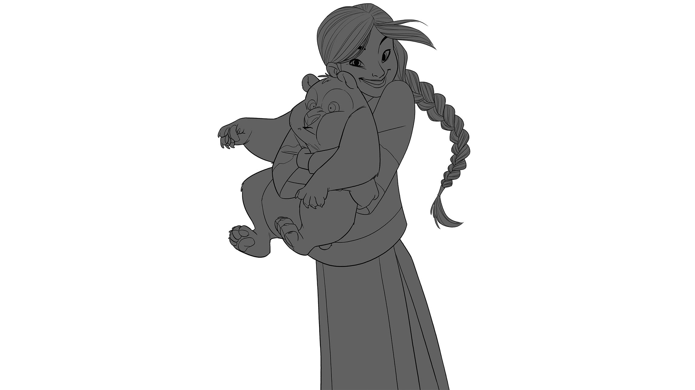 Girl with panda in grey
