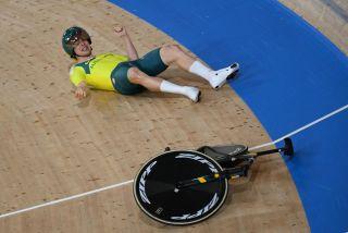 Alex Porter of Australia crashed at speed