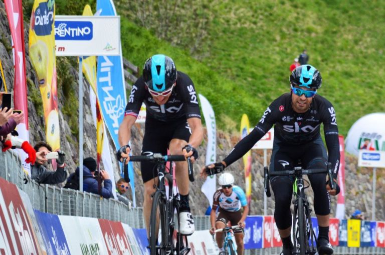 Geraint Thomas winning the stage three of the Tour of the Alps