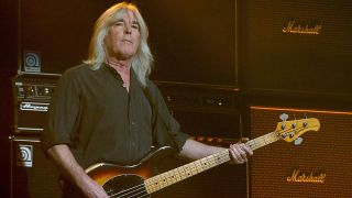 Cliff Williams performs in concert with AC/DC at the Toyota Center on February 26, 2016 in Houston, Texas
