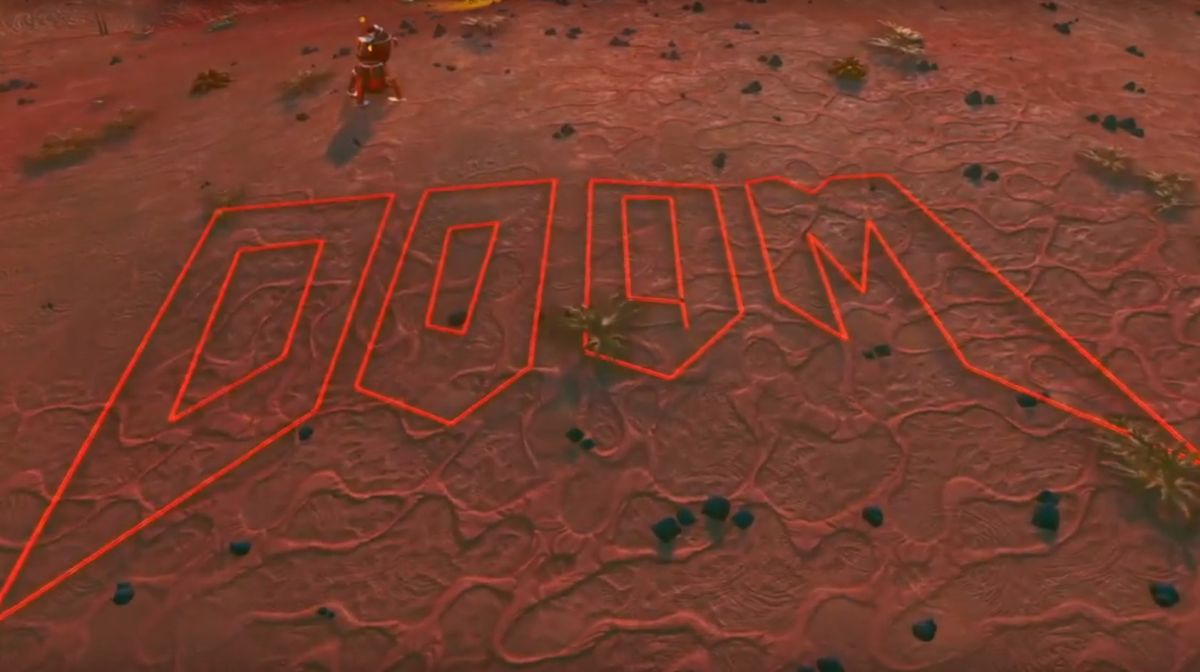 Take a tour of Doom's classic E1M1 map recreated in No Man's Sky