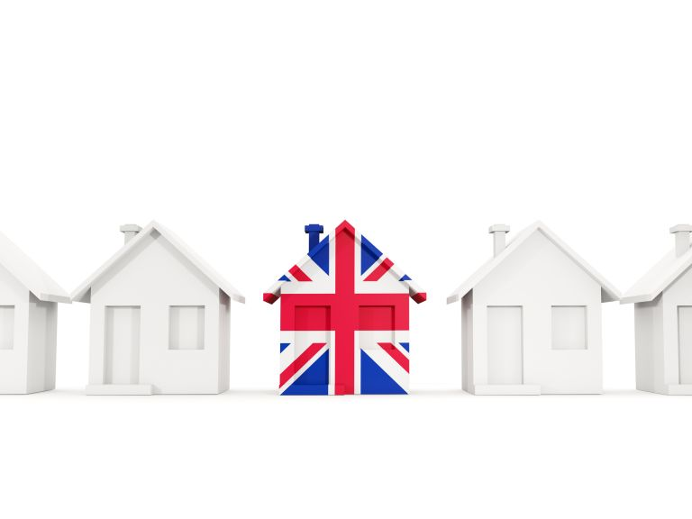 Brexit house prices: House with union jack on