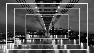 How to resize an image in Photoshop. Concentric photos of a bridge