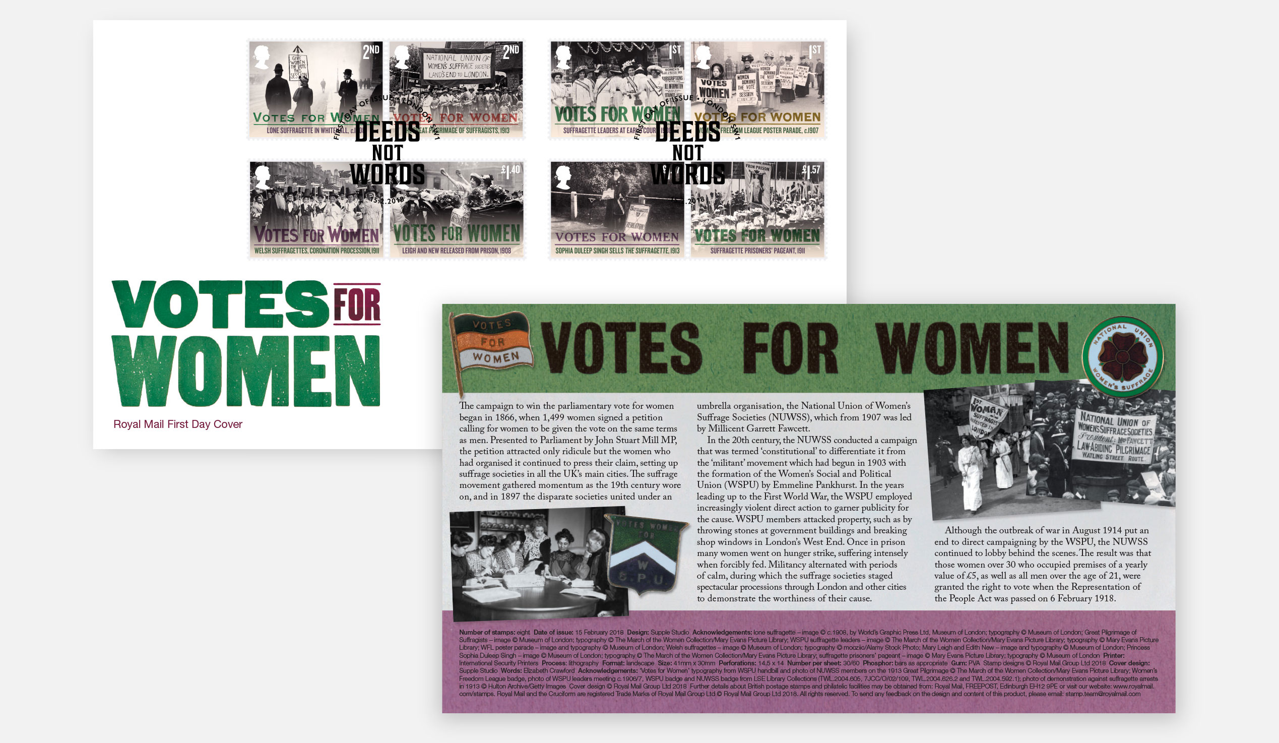 Votes for Women stamps for the Royal Mai