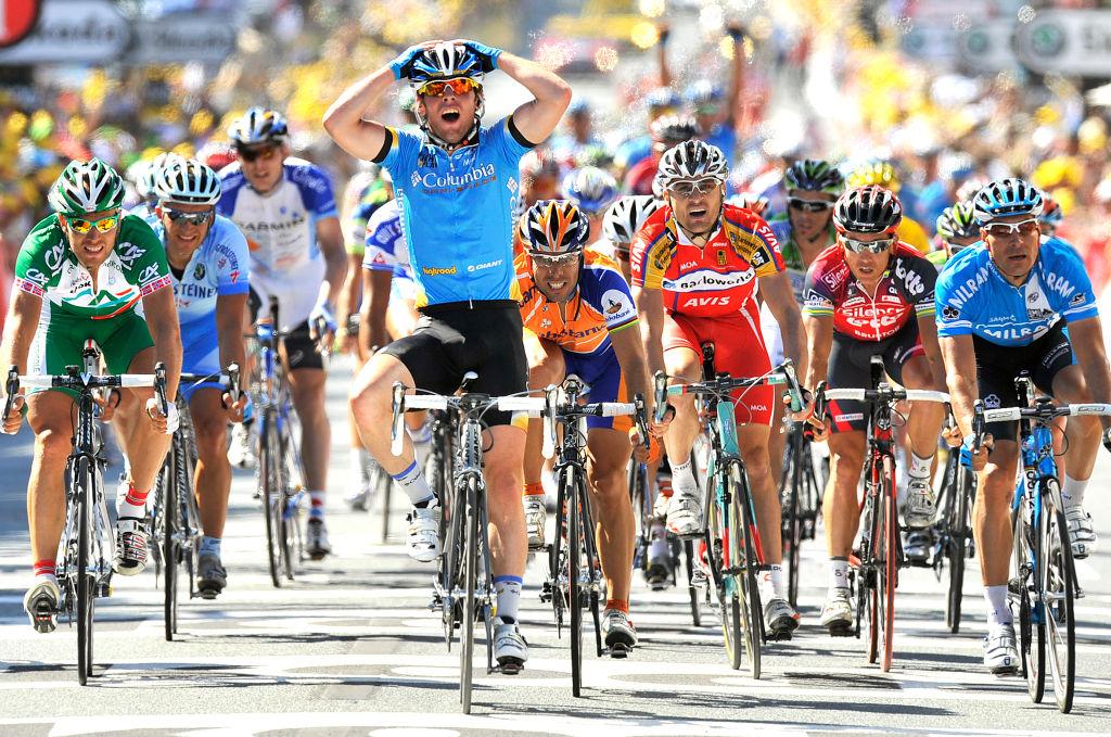 Cycling : Tour de France / Stage 5 Arrival Sprint / CAVENDISH Mark (Gbr) Celebration Joie Vreugde / FREIRE Oscar (Esp) / ZABEL Erik (Bel) / HUSHOVD Thor (Nor) / Cholet - Châteauroux Chateauroux (232 Km) / Ronde van Frankrijk / TDF / Etape Rit / (c)Tim De Waele