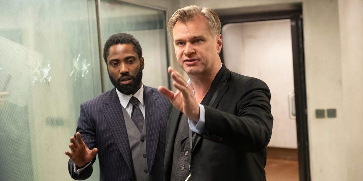 Christopher Nolan directing John David Washington in Tenet