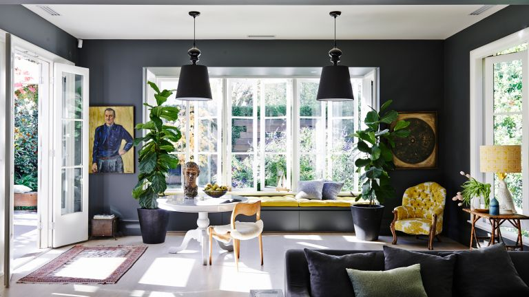 Dark grey living room with yellow accents
