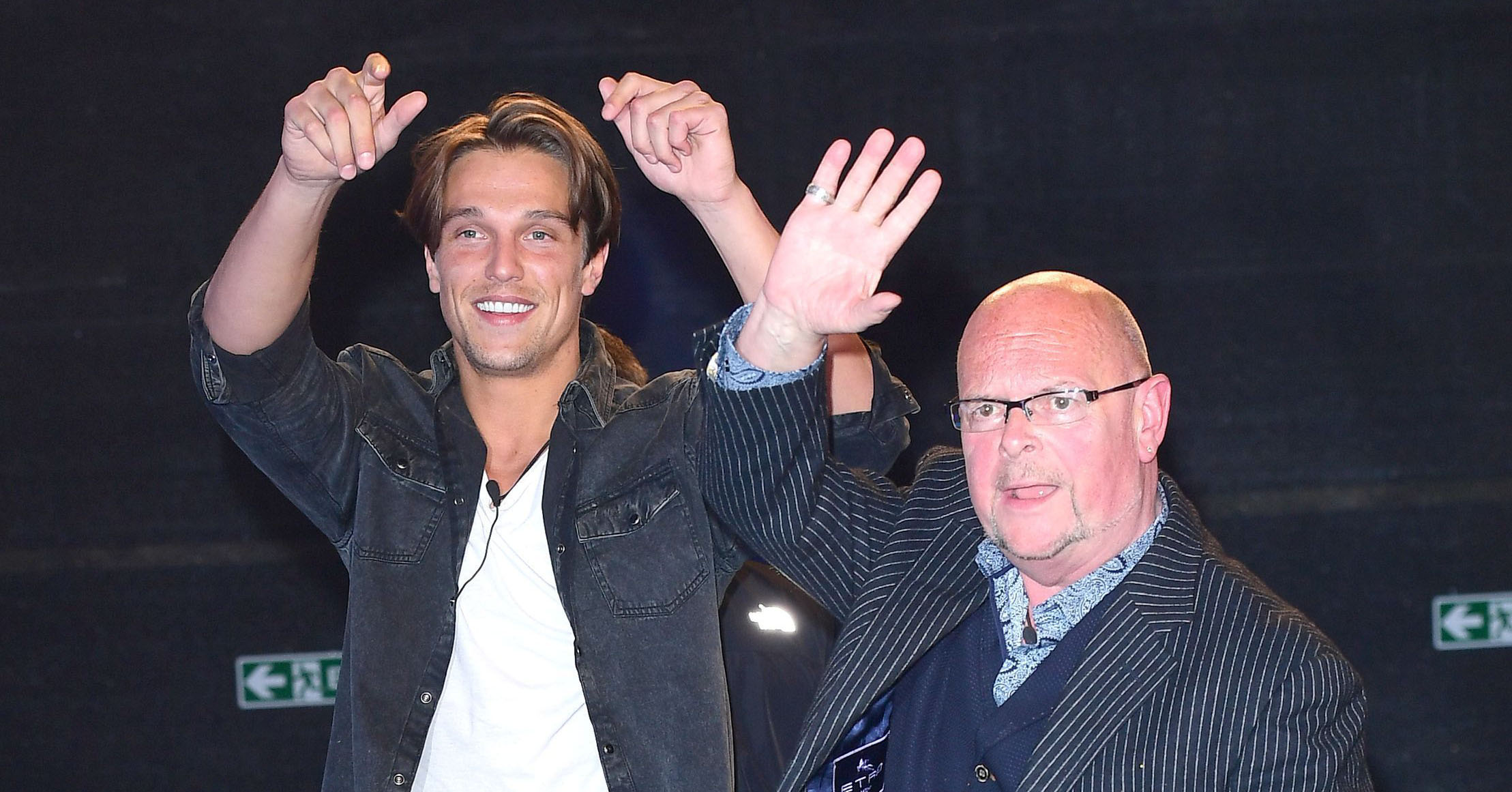 Lewis Bloor and James Whale wave goodbye to the Celebrity Big Brother house