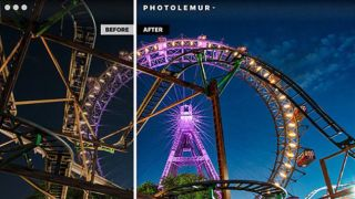 Before and after comparison photo of a Ferris wheel edited with Photolemur Spectre