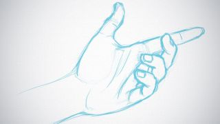 Hand sketched in blue pencil