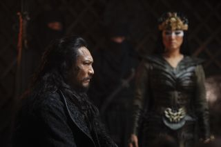 Bori Khan (Jason Scott Li) and Xianniang (Gong Li) in this scene from the live-action remake of Disney's Mulan.