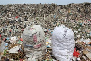 Plastic picked from the landfill for recycling.