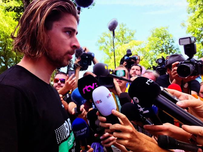 Peter Sagan speaks to the media before heading home fom the Tour de France