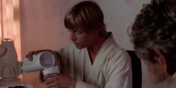 Mark Hamill as Luke Skywalker, drinking blue milk in Star Wars: A New Hope