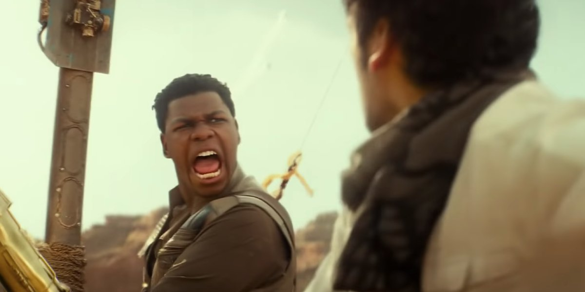 Finn (John Boyega) is surprised to see stormtroopers with jetpacks in Star Wars: The Rise of Skywalk
