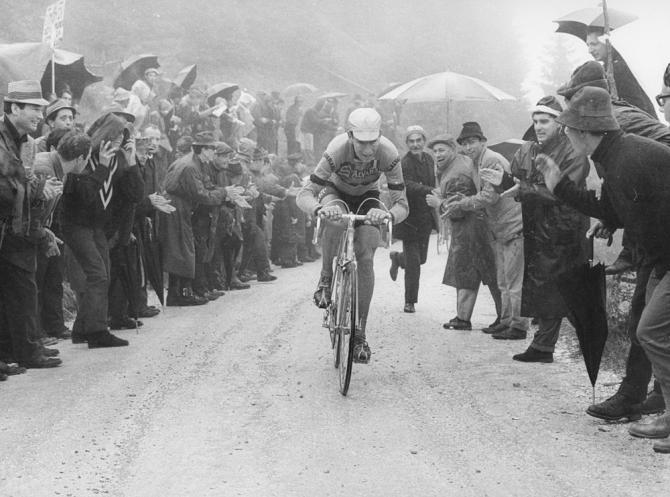 Felice Gimondi climbing the Brocon during the 20th stage of the 1967 Giro D''Italia