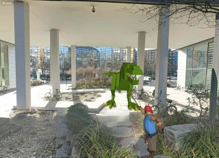 Real photo combined with virtual characters: man vs dinoasaur