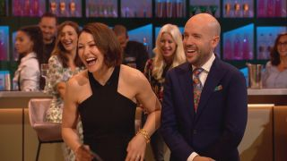 Cooking With The Stars is co-presented by the cheeky pairing of Emma Willis and Tom Allen.