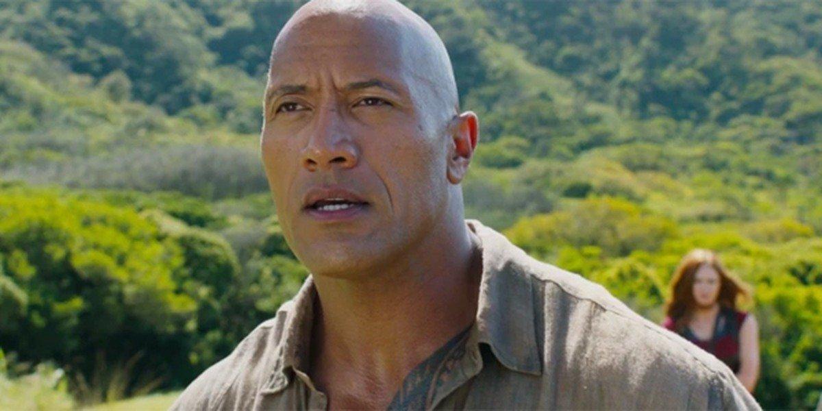 "Dr. Xander ""Smolder"" Bravestone (Dwayne Johnson) stares forward in Jumanji"