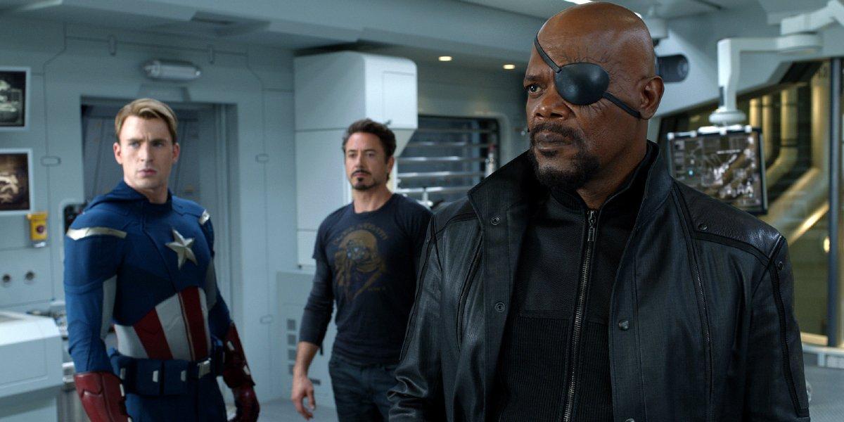 Chris Evans, Robert Downey Jr., and Samuel L. Jackson in The Avengers