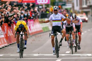 Jumbo-Visma's Primoz Roglic (left) pips Julian Alaphilippe (Deceuninck-QuickStep) on the line at the 2020 Liège-Bastogne-Liège. Could the world champion's premature celebration prove to be the difference between the two teams in the final UCI WorldTour team rankings?