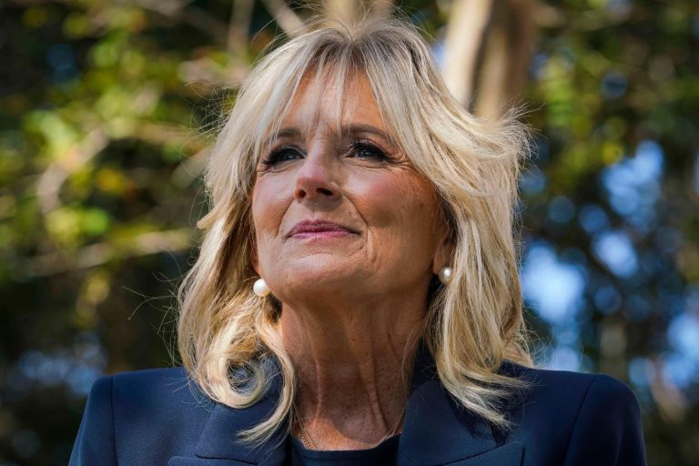 St. Petersburg, Florida, USA. 3rd Nov, 2020. Dr. Jill Biden speaks to reporters during a campaign stop at the Thomas ''Jet'' Jackson Recreation Center, on Election Day, Tuesday, Nov. 3, 2020 in St. Petersburg