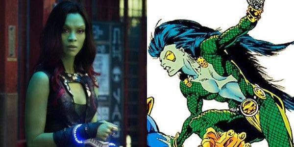 Zoe Saldana's Gamora next to her '80s hair band-esque comic book persona