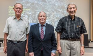 The three winners of the latest $3 million Special Breakthrough Prize in Fundamental Physics. From left to right: Peter van Nieuwenhuizen, Sergio Ferrara and Daniel Freedman .