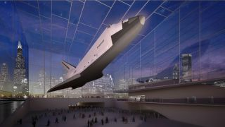 The Adler Planetarium in Chicago, Illinois has proposed a glass pavilion to display a suspended space shuttle orbiter.