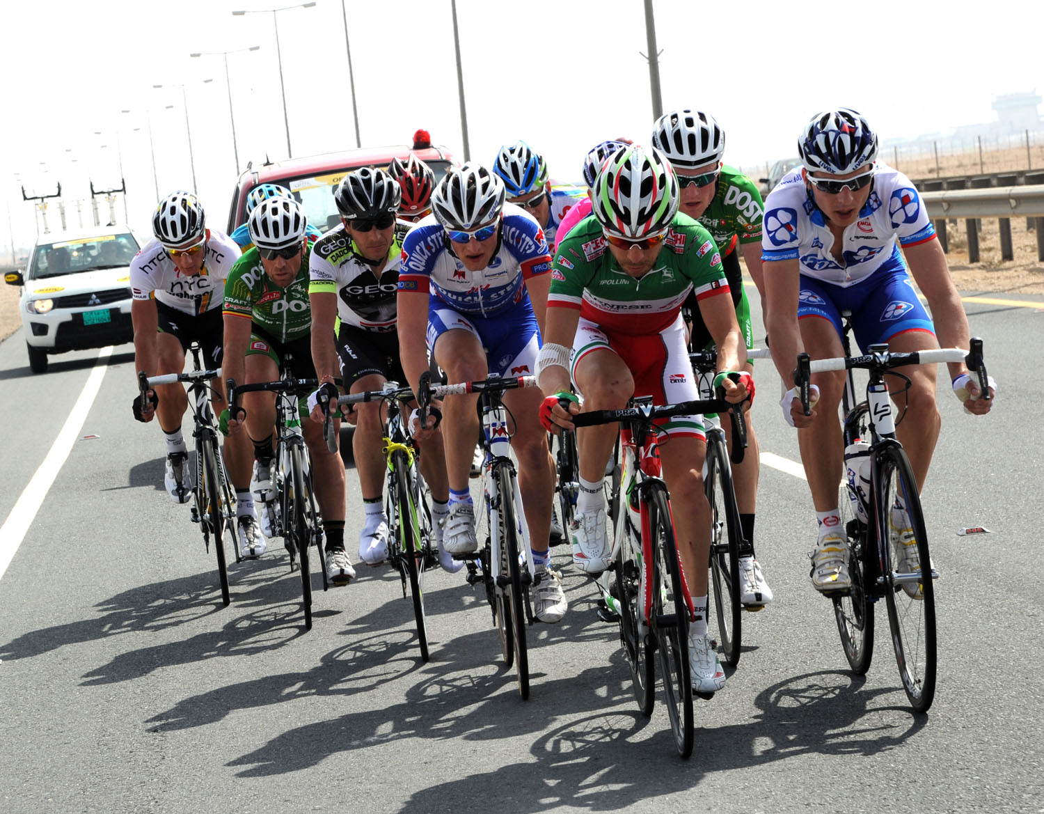 Visconti and Geslin escape, Tour of Qatar 2011, stage four