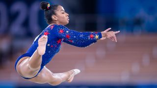 Jordan Chiles competes at the floor on day two during the qualification of the women in gymnastics at the Olympic Games at Ariake Gymnastics Centre on July 25, 2021 in Tokyo, Japan.