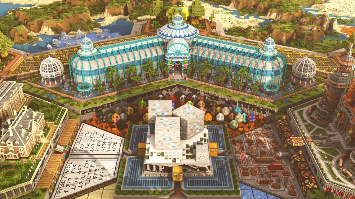 Minecraft's 10-year anniversary map is like a museum and theme park