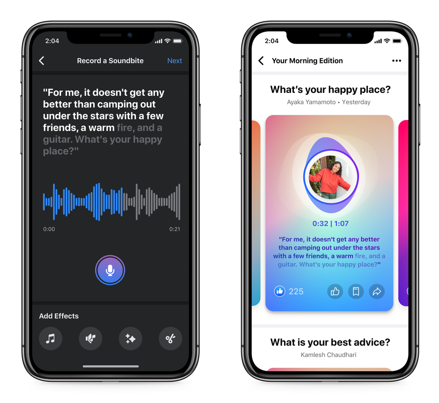 Facebook's new social audio products