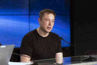 SpaceX founder and CEO Elon Musk discusses the company's successful Falcon Heavy rocket test launch in February 2018.