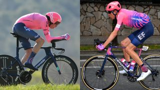 Two images of pro cyclist, Hugh Carthy, riding a TT bike and a road bike