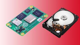 A Raspberry Pi Computer Module 4 and a SATA hard drive