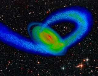 This image from a computer simulation shows the third impact of the Sagittarius Dwarf galaxy as it collides with our Milky Way nearly 2 billion years ago.