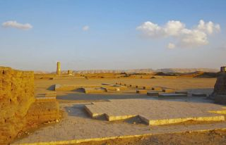 Another image of the ruined ancient city of Akhetaten under sunset at el-Amarna, built by King Tut's dad, Egypt's heretic king Akhenaten.