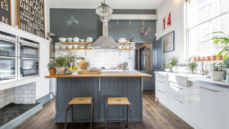 Eclectic kitchen with industrial touches
