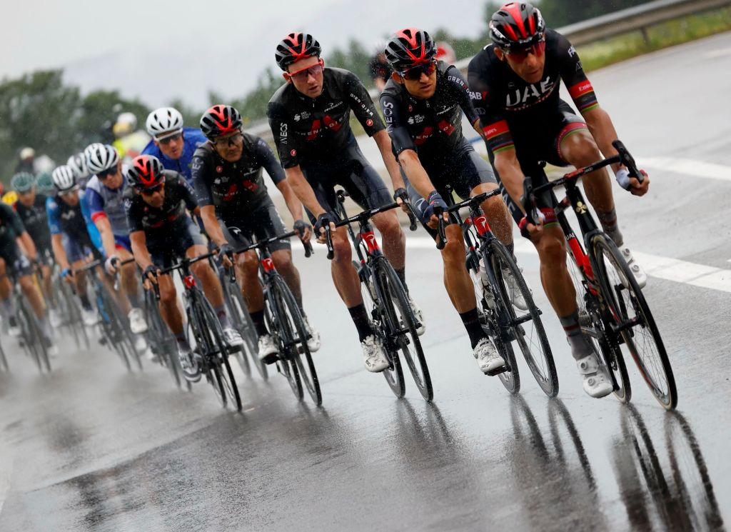 Team UAE Emirates riders lead the pack during the 8th stage of the 108th edition of the Tour de France cycling race 150 km between Oyonnax and Le GrandBornand on July 03 2021 Photo by Thomas SAMSON AFP Photo by THOMAS SAMSONAFP via Getty Images