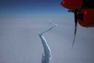 The team at the Halley Research Station on the Brunt Ice Shelf captured an aerial photo of the North Rick crack in January 2021.