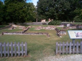 foundations of original homes in Jamestown, Virginia