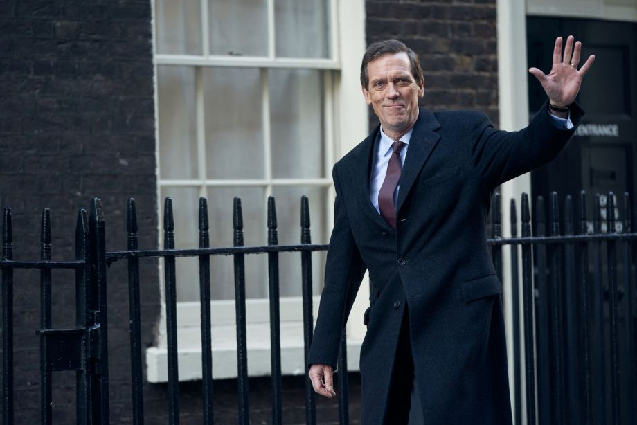 Roadkill Hugh Laurie waving to the crowds in the BBC1 thriller