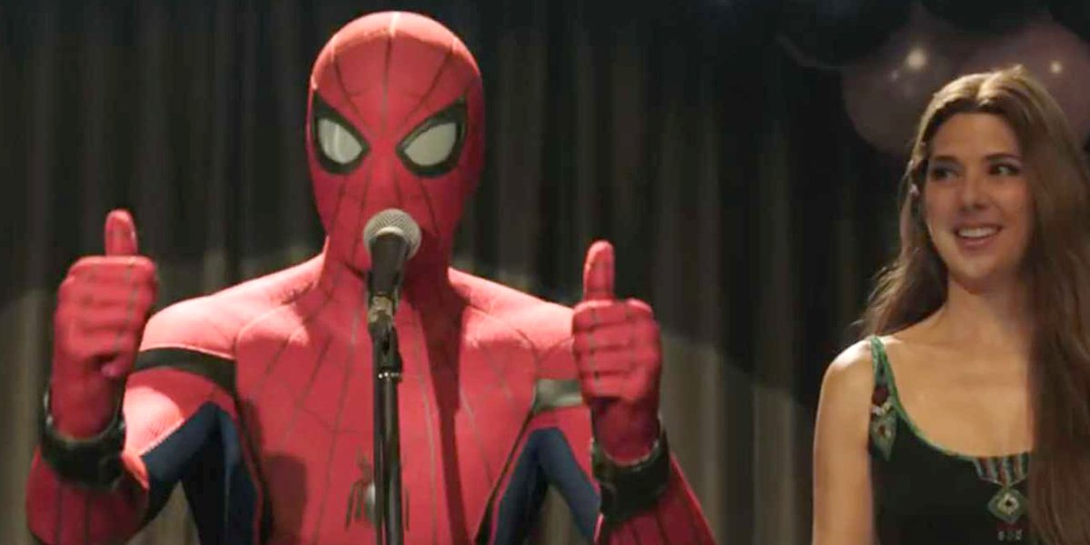 Peter Parker thumbs up with Aunt May Spider-Man: Far From Home