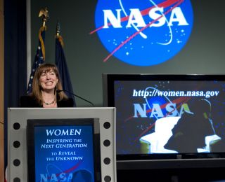 Lori Garver, NASA Deputy Administrator, speaks at a Women's History Month event at NASA Headquarters, Wednesday, March 16, 2011 in Washington.